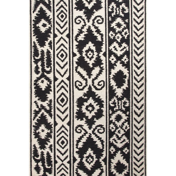 Flat Weave Tribal Pattern White Black Wool Area Rug 8 X