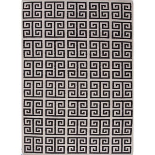 Indo Flat Weave White/ Black Geometric Wool Area Rug (5' x 8')
