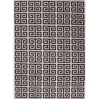 Flat Weave Geometric Pattern White/ Black Wool Area Rug (9' x 12')