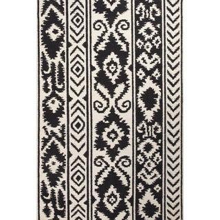 Indo Flat Weave White/ Black Tribal Wool Area Rug (2' x 3')