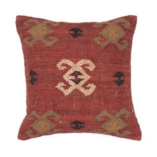 "Handmade Wool/ Jute Red/Green Pillow ( 18""x18"" )"
