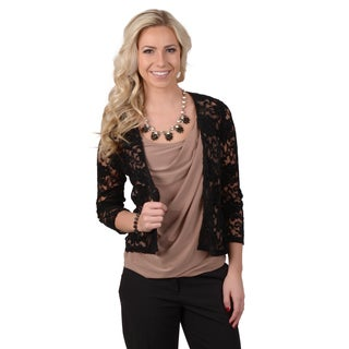 Journee Collection Women's 3/4-sleeve Lace Bolero Jacket