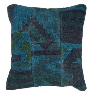 "Handmade Wool/ Jute Blue/Green Pillow ( 18""x18"" )"