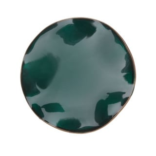 Antiqued Goldtone Glossy Dark Green Enamel Pin