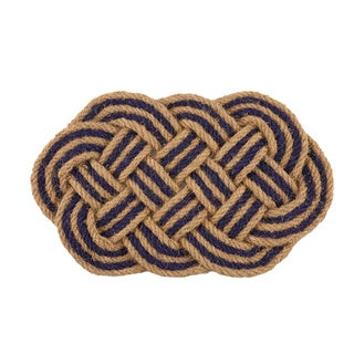 Braided Blue Oval Handwoven Coconut Fiber Doormat