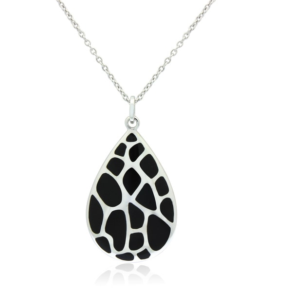 Sterling Silver Black Enamel Leopard Teardrop Necklace
