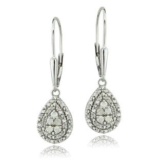 DB Designs Silver 1/2ct TDW Diamond Leverback Teardrop Earrings (I-J, I2-I3)
