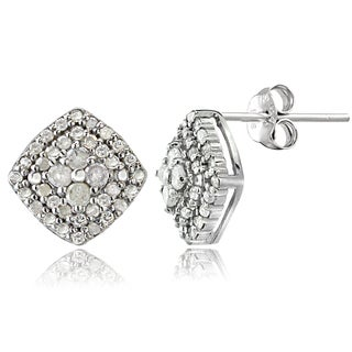 DB Designs Silver 1/2ct TDW Diamond Square Stud Earrings (I-J, I2-I3)