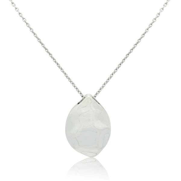 Sterling Silver Dimpled Tear Drop Pendant