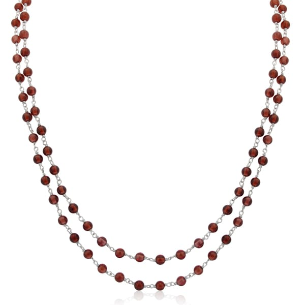 Sterling Silver Garnet Beaded Chain Necklace