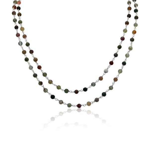 Sterling Silver Jasper Beaded Chain Necklace
