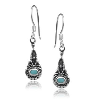 Journee Collection Sterling Silver Turquoise Western Dangle Earrings