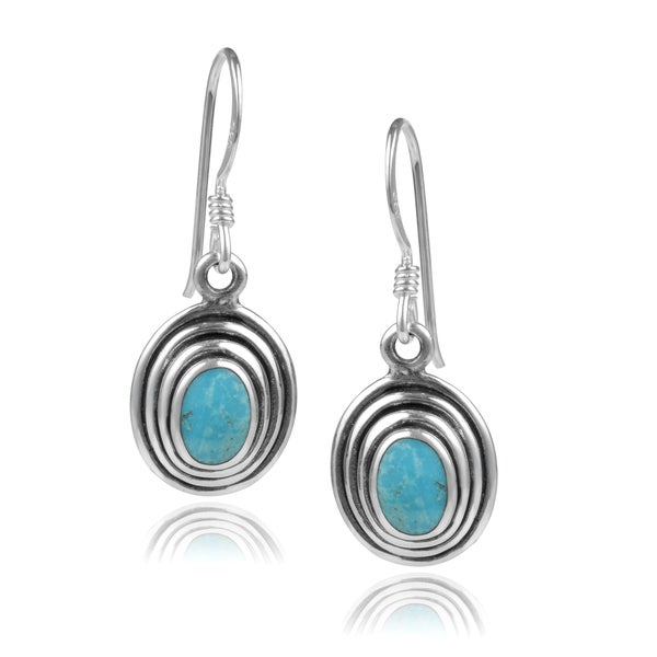 Journee Collection Sterling Silver Turquoise Ribbed Dangle Earrings