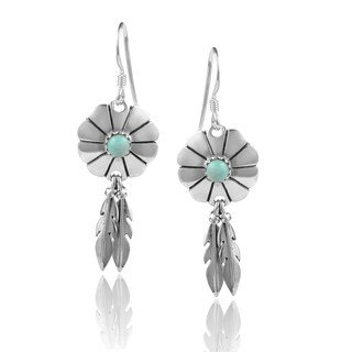 Journee Collection Sterling Silver Turquoise Flower Dangle Earrings