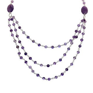 Sterling Silver Amethyst Beaded 3-row Necklace