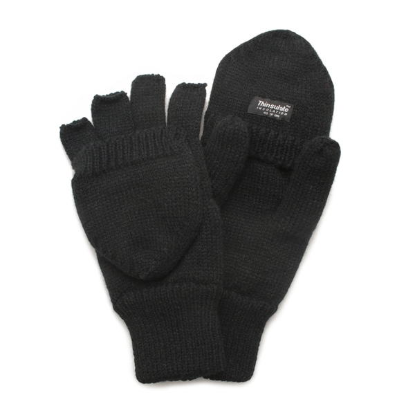 QuietWear Black Knit Flip Gloves