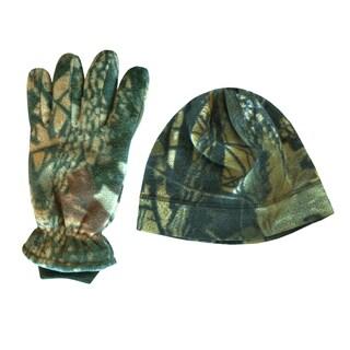 QuietWear Adventure Brown Insulated Fleece Beanie and Glove Set