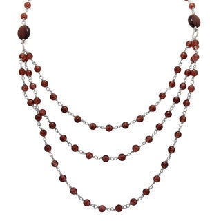 Sterling Silver Garnet Beaded 3-row Necklace