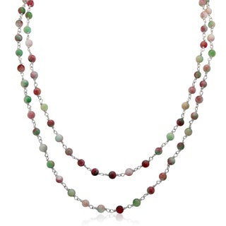Sterling Silver Candy Jade Beaded Chain Necklace