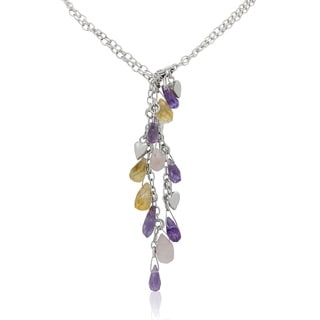 Sterling Silver Faceted Gemstones Hearts Lariat Chain Necklace
