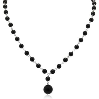 Sterling Silver Black Onyx Beaded Chain Necklace