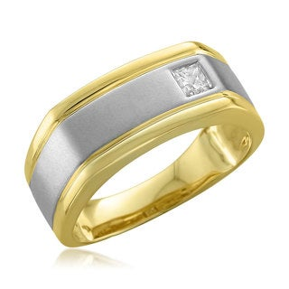 14k Two-tone Gold Men's 1/5ct TDW Princess-cut White Diamond Wedding Ring (H-I, I1-I2)