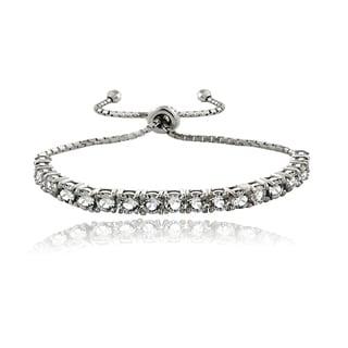 Crystal Ice Sterling Silver Crystal Adjustable Bolo Pull-string Bracelet