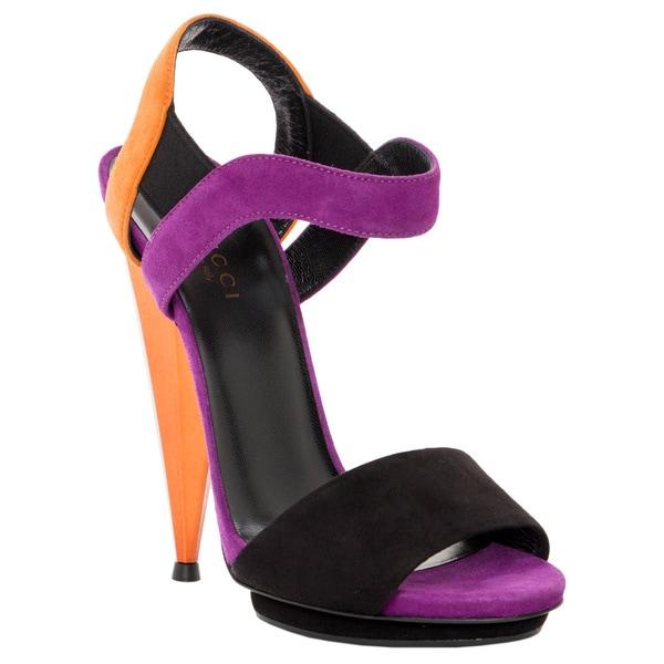 Gucci Liberty Color Block Suede Sandals