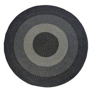 Black Braided Indoor/ Outdoor Accent Rug (6' Round)