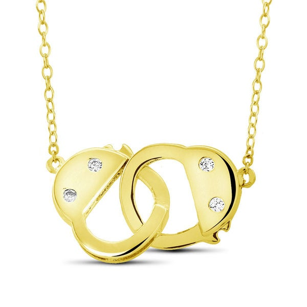 Gold over Silver Cubic Zirconia Handcuffs Pendant