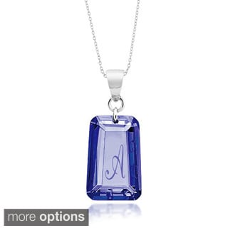Sterling Silver Sapphire Blue Cubic Zirconia September Birthstone Letter Necklace