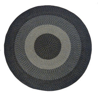 Black and Off-white Braided Indoor/ Outdoor Rug (8' Round)