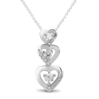 Sterling Silver Cubic Zirconia Triple Heart 18-inch Necklace