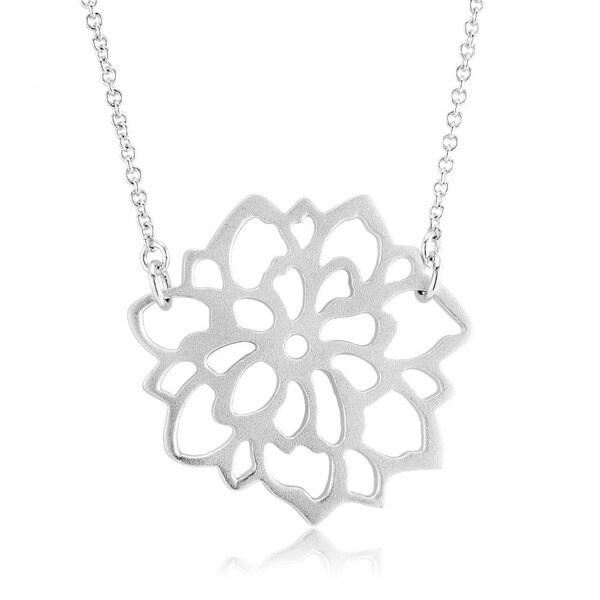 Sterling Silver Matte Finish Carnation Flower Necklace