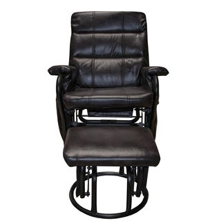 Somette Outlet Orion Bonded Leather Glider Recliner with Ottoman