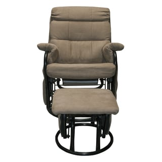 Somette Outlet Burke Herringbone Glider Recliner with Ottoman