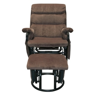 Somette Outlet Champion Pecan Glider Recliner with Ottoman