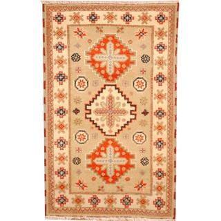 Herat Oriental Indo Hand-knotted Tribal Kazak Beige/ Red Wool Rug (3' x 5')
