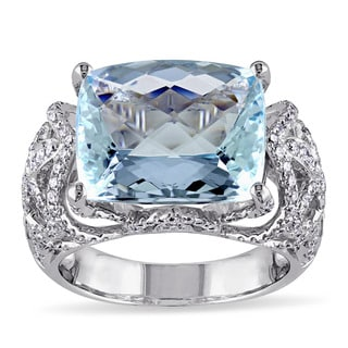 Miadora 14k White Gold Aquamarine 1ct TDW Diamond Ring (G-H, SI1-SI2)