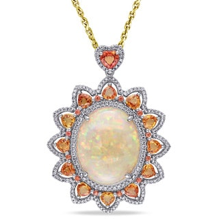 Miadora 14k White Gold Opal Sapphire and 1ct TDW Diamond Sun Necklace (G-H, SI1-SI2)