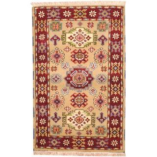 Herat Oriental Indo Hand-knotted Tribal Kazak Light Green/ Burgundy Wool Rug (3'2 x 5')