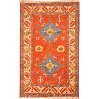 Herat Oriental Indo Hand-knotted Tribal Kazak Red/ Blue Wool Rug (3'2 x 5')