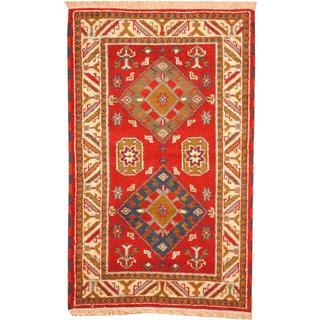 Herat Oriental Indo Hand-knotted Tribal Kazak Burgundy/ Light Blue Wool Rug (3'2 x 5'1)