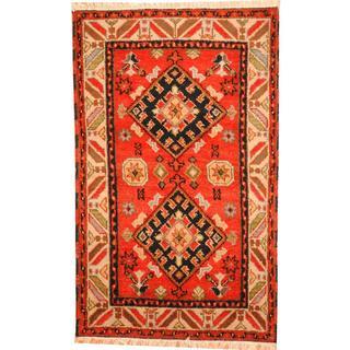 Herat Oriental Indo Hand-knotted Tribal Kazak Red/ Black Wool Rug (3'1 x 5')
