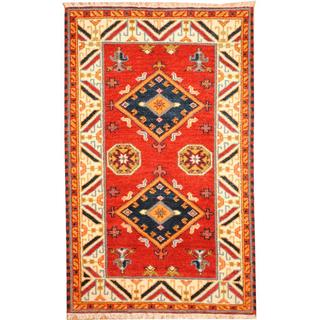 Herat Oriental Indo Hand-knotted Tribal Kazak Red/ Navy Wool Rug (3'2 x 5')