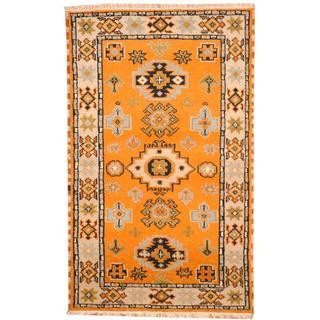Herat Oriental Indo Hand-knotted Tribal Kazak Peach/ Light Blue Wool Rug (3' x 5')