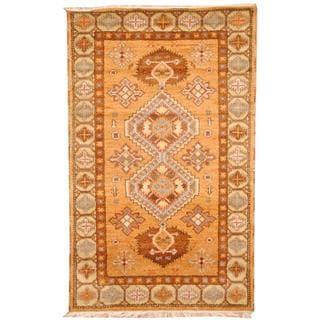 Herat Oriental Indo Hand-knotted Tribal Kazak Peach/ Blue Wool Rug (3' x 5')