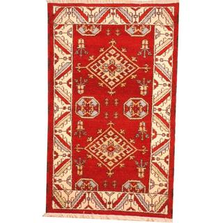 Herat Oriental Indo Hand-knotted Tribal Kazak Burgundy/ Light Blue Wool Rug (3' x 5')