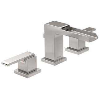 Delta Brilliance Stainless Ara 2-handle Widespread Lavatory Faucet with Channel Spout