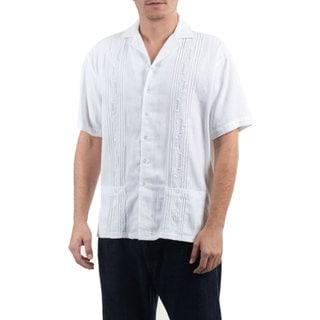 Novica Men's Handcrafted 'White Ivy' Cotton Shirt (El Salvador)